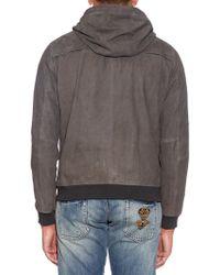 Vince Hooded Suede Jacket - Grey