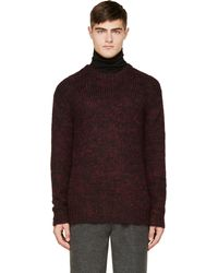 Junya Watanabe Burgundy Mlange Knit Mohair Sweater - Lyst