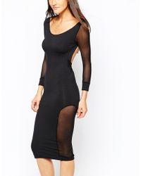 Quontum - Midi Dress With Mesh Insert Panels - Lyst