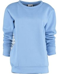 By Sun - Lace Flower Sky Blue Sweatshirt - Lyst