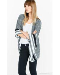 Express Marl Striped Open Poncho - Grey