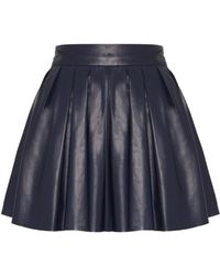 Alice + Olivia Box Pleat Leather Skirt - Lyst