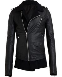Rick Owens Cashmere Lined Leather Jacket - Lyst