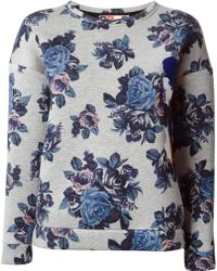 MSGM Flower Printed Sweatshirt - Lyst
