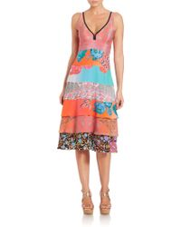 Nanette Lepore - Floral Print Silk Tiered Dress - Lyst