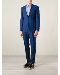 Canali Blue Checked Suit - Lyst