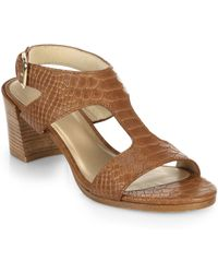 Stuart Weitzman Snake-Embossed Leather Sandals - Lyst