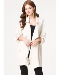 Bebe Drape Front Trench Coat - Lyst