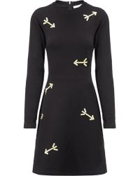 Carven Black Embroidered Arrow Dress - Lyst