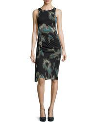 Halston Heritage Printed Side-twist Pleat Dress - Lyst