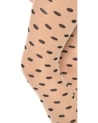 Alice + Olivia - Alice Olivia Semi Sheer Polka Dot Tights Nudeblack - Lyst