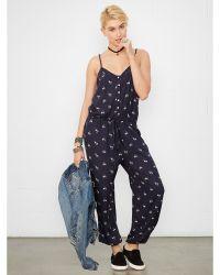 Denim & Supply Ralph Lauren Blue Floral Jumpsuit - Lyst