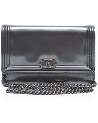 Chanel Pre-owned Grey Metallic Patent Leather Le Boy Woc Wallet On Chain - Lyst