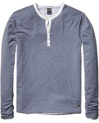 Scotch & Soda Long Sleeve Grandad T-Shirt - Blue