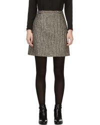 Saint Laurent Black Sequined Tweed Lam A_line Skirt - Lyst