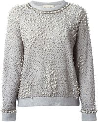 Sea Pearls and Sequins Embroidered Sweatshirt - Lyst