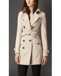 Burberry Gabardine Trench Coat With Python Sleeves - Lyst