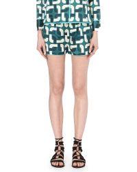 F.R.S For Restless Sleepers - Silk-blend Geometric-print Shorts - Lyst