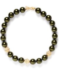 Kenneth Jay Lane Faux Pearl Crystal Pavé Ball Strand Necklace - Lyst