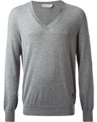 Alexander McQueen Gray V-neck Sweater - Lyst