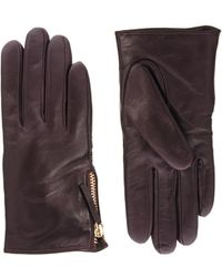 Asos Leather Zip Gloves - Lyst
