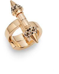 Vita Fede - Babylon Double Spike Crystal Ring/rose Goldtone - Lyst