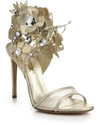 Casadei Bejeweled Flower Metallic Leather Sandals - Lyst