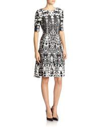 St. John Animal-Print Jacquard Dress black - Lyst