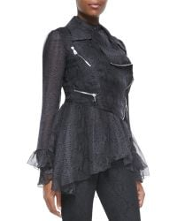 Christopher Kane Snakeskin-print Abstract Frill Biker Jacket - Lyst