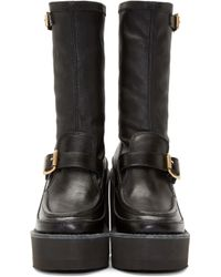Sacai - Black Leather Mid_calf Wedge Boots - Lyst