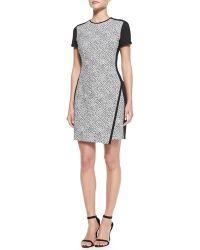 Shoshanna Noah Shortsleeve Pebbled Combo Dress - Lyst