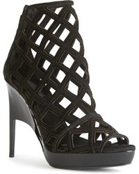 Burberry Prorsum | Velour Edenside Peep Toe Ankle Boots | Lyst