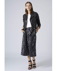 Topshop Womens Bambi Feather Print Culottes Grey - Lyst