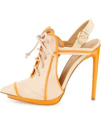 L.A.M.B. Janetta Leather Lace-Up Pump - Lyst