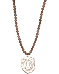 Rita & Zia Wolf Agate Bib Necklace - Brown