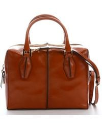 Tod's Honey Brown Patent Leather Small Convertible Top Handle Bag - Lyst