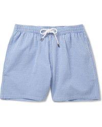 Façonnable - Mid-Length Seersucker Swim Shorts - Lyst