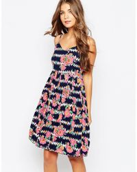 Sugarhill - Floral Zig Zag Summer Dress - Lyst