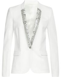 The Kooples Kate Crepe Blazer With Leather - Lyst