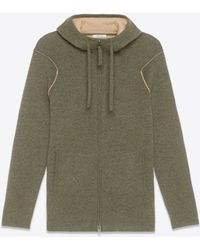 Helmut Lang Cashmere Hooded Cardigan green - Lyst