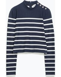 Zara Striped Tshirt with Shoulder Buttons - Lyst