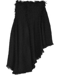 Lanvin Asymmetric Frayed Tweed Skirt - Lyst