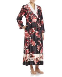 Oscar de la Renta | Faux Fur-collar Satin Floral-print Robe | Lyst