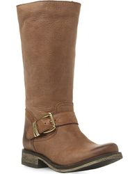 Steve Madden Fyzzle Buckle Trim Leather Calf Boots Tanleather - Lyst