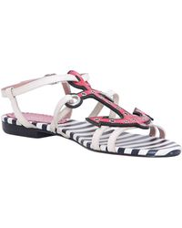 RED Valentino Leather Sandals With Anchor Detail - Lyst