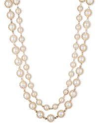 Anne Klein Double Strand Faux Pearl Necklace - Metallic