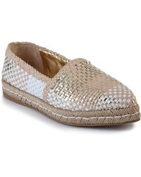 Prada | Madras Woven Metallic Leather Espadrille Flats | Lyst