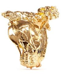 Alexander McQueen Skull Fish Bone Ring gold - Lyst