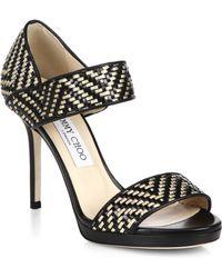 Jimmy Choo Alana Woven Leather Sandals - Lyst