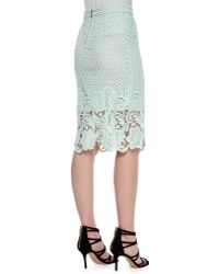 Andrew Marc Armor Lace Pencil Skirt - Gray